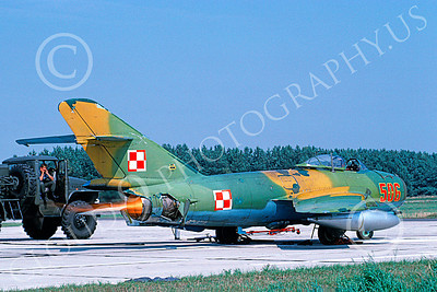 MiG-17 00019 A static MiG-17 Fresco Polish Air Force 506 in afterburner 9-1991 military airplane picture by W Gysin-Aegerter