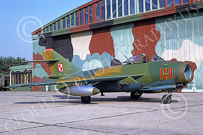 MiG-17 00017 A static Mikoyan-Guryevich MiG-17 Fresco Polish Air Force 101 9-1991 military airplane picture by W Gysin-Aegerter