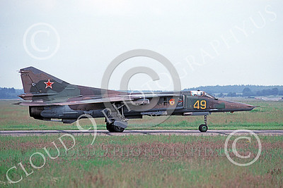 MiG-23 00049 A taxing Mikoyan-Guryevich MiG-23 Flogger Soviet Air Force 49 8-1992 military airplane picture by Wilfreid Zetsche