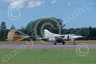 MiG-23 00079 A taxing MiG-23 Flogger Polish Air Force 117 9-1999 with chute deployed military airplane picture by Gene MacDonald