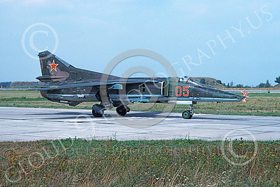 MiG-23 00045 A taxing Mikoyan-Guryevich MiG-23 Flogger Soviet Air Force 05 8-1992 military airplane picture by Wilfreid Zetsche