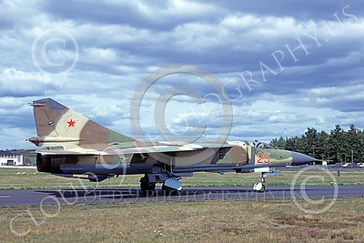 MiG-23 00059 A taxing Mikoyan-Guryevich MiG-23 Flogger Soviet Air Force 25 8-1981 military airplane picture by Wieland Stolze