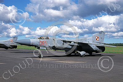 MiG-23 00071 A static MiG-23 Flogger Polish Air Force 065 9-1999 military airplane picture with clouds by Charles Colenzo