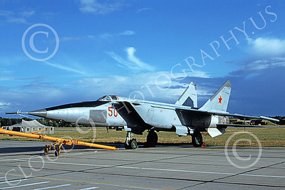 MiG-25 00023 A static Mikoyan-Guryevich MiG-25 Foxbat Soviet Air Force 50 6-1994 military airplane picture by Wilfried Zetsche