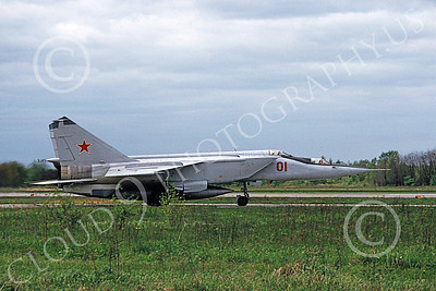 MiG-25 00025 A taxing two seat MiG-25 Foxbat Soviet Air Force 01 interceptor trainer 5-1991 military airplane picture by Marcus Herbote
