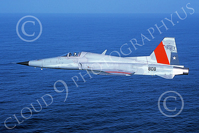 F-5Forg 00014 A flying Northrop F-5 Freedom Fighter Chile Air Force 808 3-1987 military airplane picture by P Steinemann