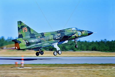 Viggen 011 A green cam SAAB Viggen AJ 37 Swedish Air Force jet fighter taking off in afterburner at Soderhamm 8-1976, military airplane picture by Stephen W  D  Wolf   CCC_4455   Dt