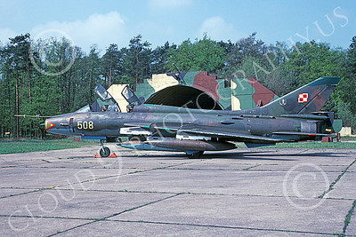 Su-22U 00003 A static Sukhoi Su-22U Fitter Polish Air Force 508 5-2000 military airplane picture by Duane Briones