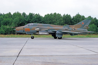 SU-17 00015 A taxing Sukhoi Su-15 Fitter Soviet Air Force 26 8-1991 military airplane picture by Wilfreid Zetsche