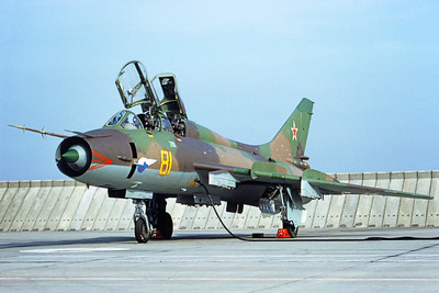 Su-17 00017 A static Sukhoi Su-17 Fitter Soviet Air Force 81 8-1993 military airplane picture by H J van Broekhulzen