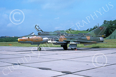 Su-22 00025 A static Sukhoi Su-22 Fitter German Air Force 25 29 7-1993 military airplane picture by Nick Colenzo