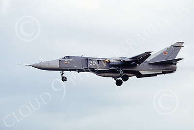 SU-24 00030 A landing Sukhoi Su-24 Fencer Soviet Air Force 30 8-1992 military airplane picture by Paul Bannwarth