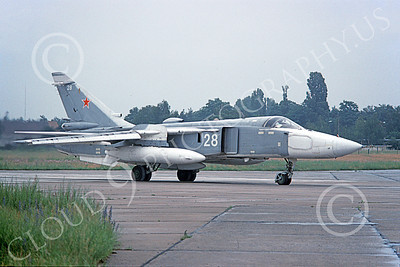 Su-24 00019 A taxing Sukhoi Su-24 Fencer Soviet Air Force 28 6-1993 military airplane picture by Paul Paski