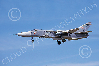 Su-24 00016 A landing Sukhoi Su-24 Fencer Soviet Air Force 31 6-1992 military airplane picture by Wilfreid Zetsche