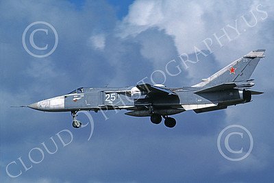 Su-24 00024 A landing Sukhoi Su-24 Fencer Soviet Air Force 31 8-1991 military airplane picture by Wilfreid Zetsche