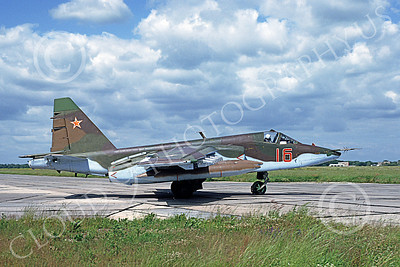 Su-25 00019 A taxing Sukhoi Su-25 Frogfoot Soviet Air Force 16 6-1992 military airplane picture by Wilfreid Zetsche