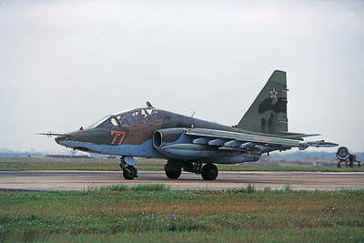 Su-25UB 00003 A taxing Sukhoi Su-25UB Soviet Air Force jet attack trainer 8-2009 military airplane picture by Wilfried Zetsche