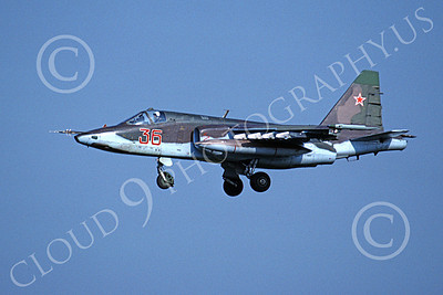 Su-25 00016 A landing Sukhoi Su-25 Frogfoot Soviet Air Force 36 8-1991 military airplane picture by Wilfreid Zetsche