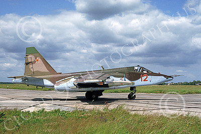 Su-25 00013 A taxing Sukhoi Su-25 Frogfoot Soviet Air Force 12 6-1992 military airplane picture by Wilfreid Zetsche