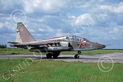 SU-25UB 00007 A taxing Sukhoi Su-25UB Frogfoot Soviet Air Force 73 6-1993 military airplane picture by Michael Dawkins