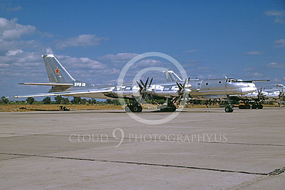 Tu-95 00015 A static Tupolev Tu-95 Bear Soviet Air Force strategic bomber 8-1996 military airplane picture by Ken Jacobs