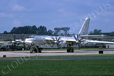 Tupolev Tu-95 00007 A taxing Soviet Air Force Tupolev Tu-95 Bear strategic bomber RAF Fairford 6-1993, by M P Hopper D