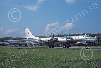 Tu-95 00017 A taxing Tupolev Tu-95 Bear Soviet Air Force strategic bomber 8-1996 military airplane picture by Danny Mann