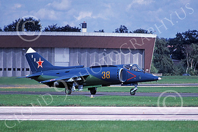 YAK-38 00001 A taxing YAK-38 Forger VTOL military aircraft Russian Navy 38 9-1992 military airplane picture by Jim Warner