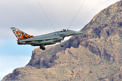 Eurofighter Typhoon-Spanish 003 A Eurofighter Typhoon Spanish Air Force jet fighter with rare sabre tooth tiger tail makings landing at Nellis AFB, military airplane picture by Peter J  Mancus     852_5101     Dt