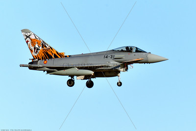 Eurofighter Typhoon-Spanish 004 A Eurofighter Typhoon Spanish Air Force jet fighter with rare sabre tooth tiger tail makings landing at Nellis AFB, military airplane picture by Peter J  Mancus     852_4936     Dt