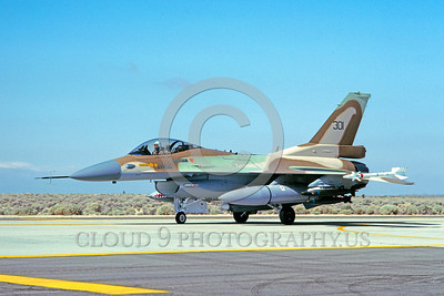 F-16-Israeli 0001 A Lockheed Martin F-16 Fighting Falcon Israeli Air Force jet fighter taxis at Edwards AFB 5-1987 military airplane picture by Carl E Porter