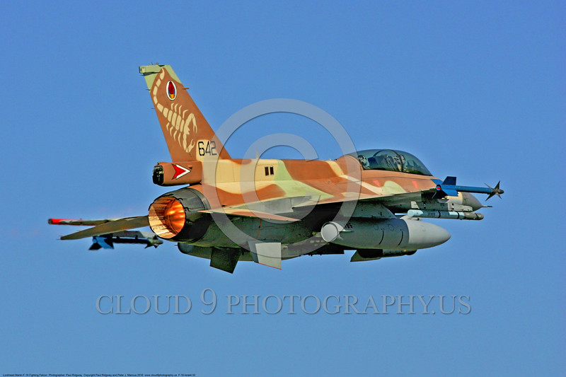 F-16-Israeli 0002 A flying Lockheed Martin F-16 Fighting Falcon Israeli Air Force jet fighter in afterburner military airplane picture by Paul Ridgway DONEwt