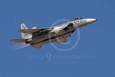 F-15Forg 00016 A flying two seat McDonnell Douglas F-15 Eagle Israeli Air Force 733 9-2002, in afterburner, by Michael Grove, Sr