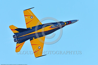 EE-F-18Forg 0010 A flying inverted colorful McDonnell Douglas CF-18 Hornet jet fighter Canadian Armed Forces 188761 410 Sqd COURGARS 9-2016 military airplane picture by Peter J  Mancus