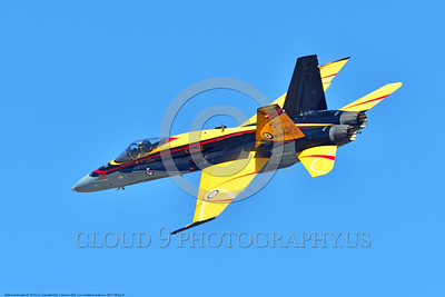EE-F-18Forg 0034 A flying colorful McDonnell Douglas CF-18 Hornet jet fighter Canadian Armed Forces 188761 410 Sqd COUGARS 9-2016 military airplane picture by Peter J  Mancus