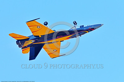 EE-F-18Forg 0028 A flying inverted colorful McDonnell Douglas CF-18 Hornet jet fighter Canadian Armed Forces 188761 410 Sqd COUGARS 9-2016 military airplane picture by Peter J  Mancus