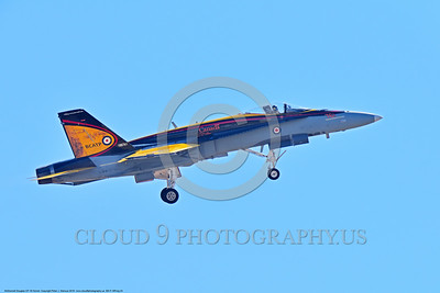 EE-F-18Forg 0024 A landing colorful McDonnell Douglas CF-18 Hornet jet fighter Canadian Armed Forces 188761 410 Sqd COURGARS 9-2016 military airplane picture by Peter J  Mancus