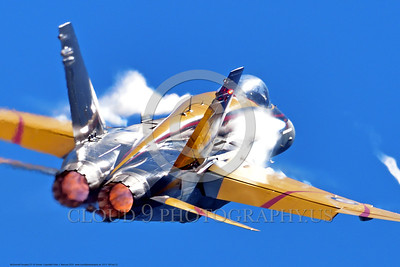 EE-F-18Forg 0022 A flying colorful McDonnell Douglas CF-18 Hornet jet fighter with vortex in afterburner Canadian Armed Forces 188761 410 Sqd COURGARS 9-2016 military airplane picture by Peter J  Mancus