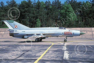 MiG-21 00079 A static MiG-21 Fishbed jet fighter Polish Air Force 6804 5-2000 military airplane picture by John Rivers