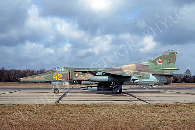 MiG-23 00019 Mikoyan-Guryevich MiG-23 Flogger Soviet Air Force April 1993 by Wilfried Zetsche