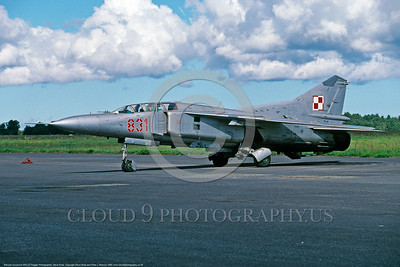 MiG-23 00008 A static Polish Air Force Mikoyan-Guryevich MiG-23ML Flogger 9-1999 military airplane picture by Steve Rosa  DONEwt