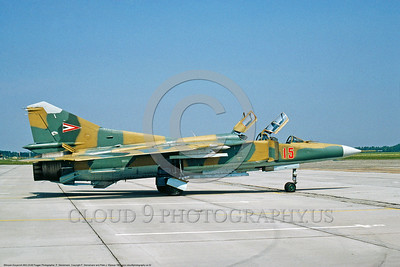 MiG-23UB 00002 A static Hungarian Air Force Mikoyan-Guryevich MiG-23UB Flogger student-instructor trainer 8-1991 military airplane picture by P  Steinemann  DONEwt
