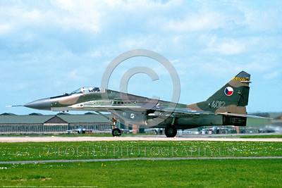 MiG-29 00010 A taxing Czech Republic Air Force Mikoyan-Gurevich MiG-29 Fulcrum jet fighter 6-1994 military airplane picture by F  Visser