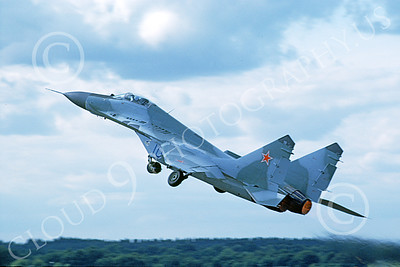 MiG-29 00044 A flying Mikoyan-Guryevich MiG-29 Fulcrum Soviet Air Force 6-1992 military airplane picture by Wilfreid Zetsche
