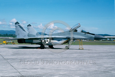 MiG-29 00007 A static Malaysian Air Force Mikoyan-Gurevich MiG-29 Fulcrum jet fighter 4-1997 military airplane picture by Peter R  Foster S