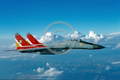 MiG-29 00006 A flying colorful Indian Air Force Mikoyan-Gurevich MiG-29A Fulcrom jet fighter 11-1990 military airplane picture by P  Steinemann DONEwt