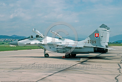 MiG-29 00008 A static Slovac Republic Air Force Mikoyan-Gurevich MiG-29 Fulcrum jet fighter 7-2004 military airplane picture by Jim Wager