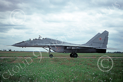 MiG-29UB 00007 A taxing Mikoyan-Guryevich MiG-29UB Fulcrum jet fighter trainer Soviet Air Force 1991 military airplane picture by Wilfried Zetsche