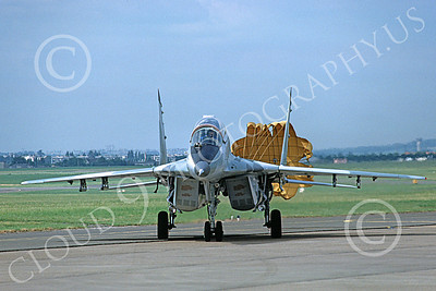 MiG-29UB 00017 A static Mikoyan-Guryevich MiG-29UB Fulcrum jet fighter with chute Soviet Air Force 6-1989 military airplane picture by H J van Broekhulzen