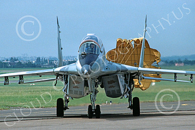 MiG-29UB 00037 A static Mikoyan-Guryevich MiG-29UB Fulcrum jet fighter with chute Soviet Air Force 6-1989 military airplane picture by H J van Broekhulzen